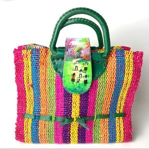 Handbags - Striped colorful Straw, hand paint Ethnic African